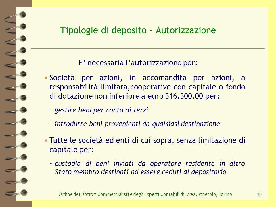 Ordine dei Dottori Commercialisti e degli Esperti Contabili di Ivrea, Pinerolo, Torino10 Tipologie di deposito - Autorizzazione E necessaria lautorizz