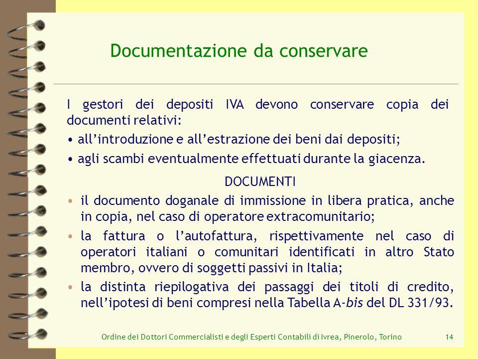 Ordine dei Dottori Commercialisti e degli Esperti Contabili di Ivrea, Pinerolo, Torino14 Documentazione da conservare I gestori dei depositi IVA devon