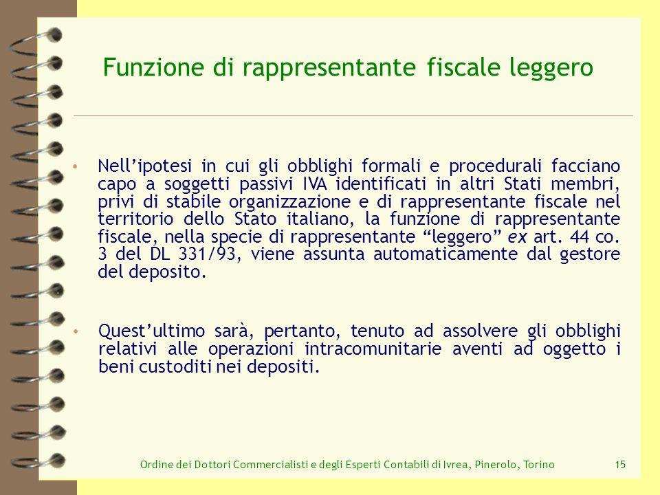 Ordine dei Dottori Commercialisti e degli Esperti Contabili di Ivrea, Pinerolo, Torino15 Funzione di rappresentante fiscale leggero Nellipotesi in cui