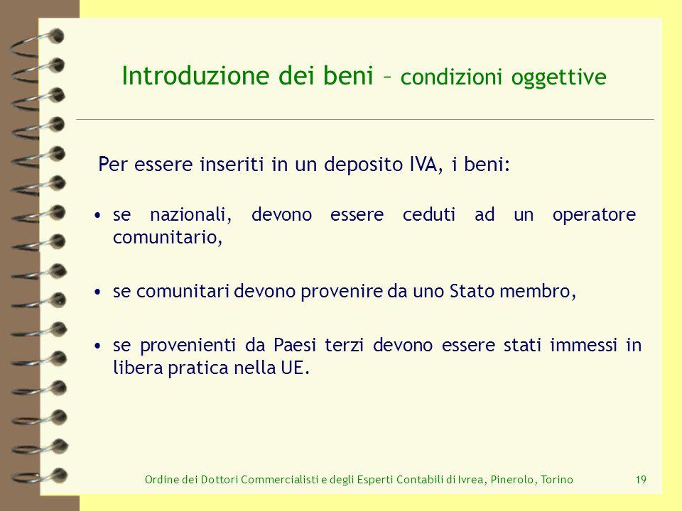Ordine dei Dottori Commercialisti e degli Esperti Contabili di Ivrea, Pinerolo, Torino19 Introduzione dei beni – condizioni oggettive se provenienti d