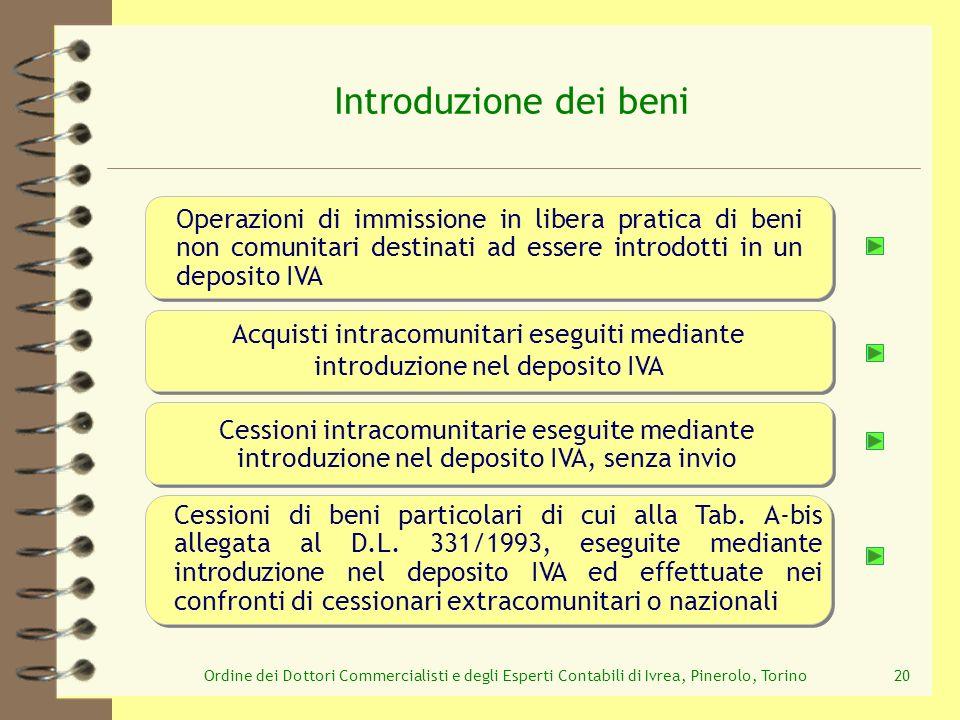 Ordine dei Dottori Commercialisti e degli Esperti Contabili di Ivrea, Pinerolo, Torino20 Operazioni di immissione in libera pratica di beni non comuni
