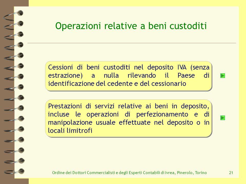 Ordine dei Dottori Commercialisti e degli Esperti Contabili di Ivrea, Pinerolo, Torino21 Operazioni relative a beni custoditi Prestazioni di servizi r