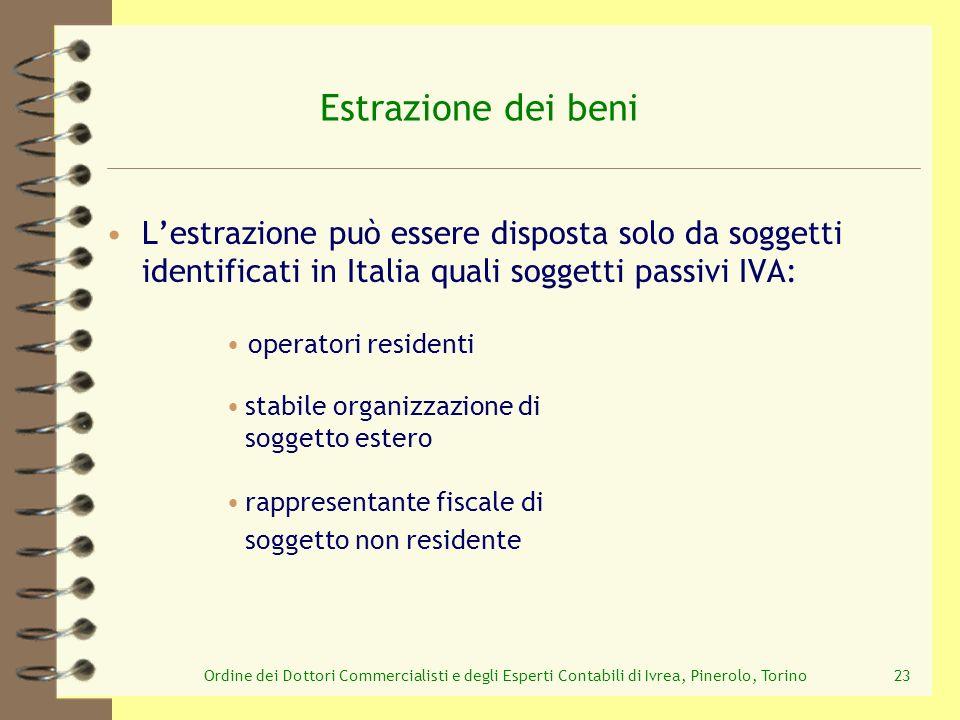 Ordine dei Dottori Commercialisti e degli Esperti Contabili di Ivrea, Pinerolo, Torino23 Lestrazione può essere disposta solo da soggetti identificati