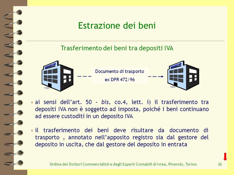 Ordine dei Dottori Commercialisti e degli Esperti Contabili di Ivrea, Pinerolo, Torino26 Estrazione dei beni Trasferimento dei beni tra depositi IVA D