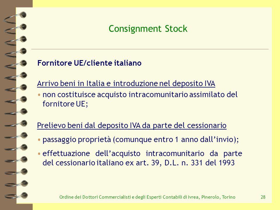 Ordine dei Dottori Commercialisti e degli Esperti Contabili di Ivrea, Pinerolo, Torino28 Consignment Stock Prelievo beni dal deposito IVA da parte del