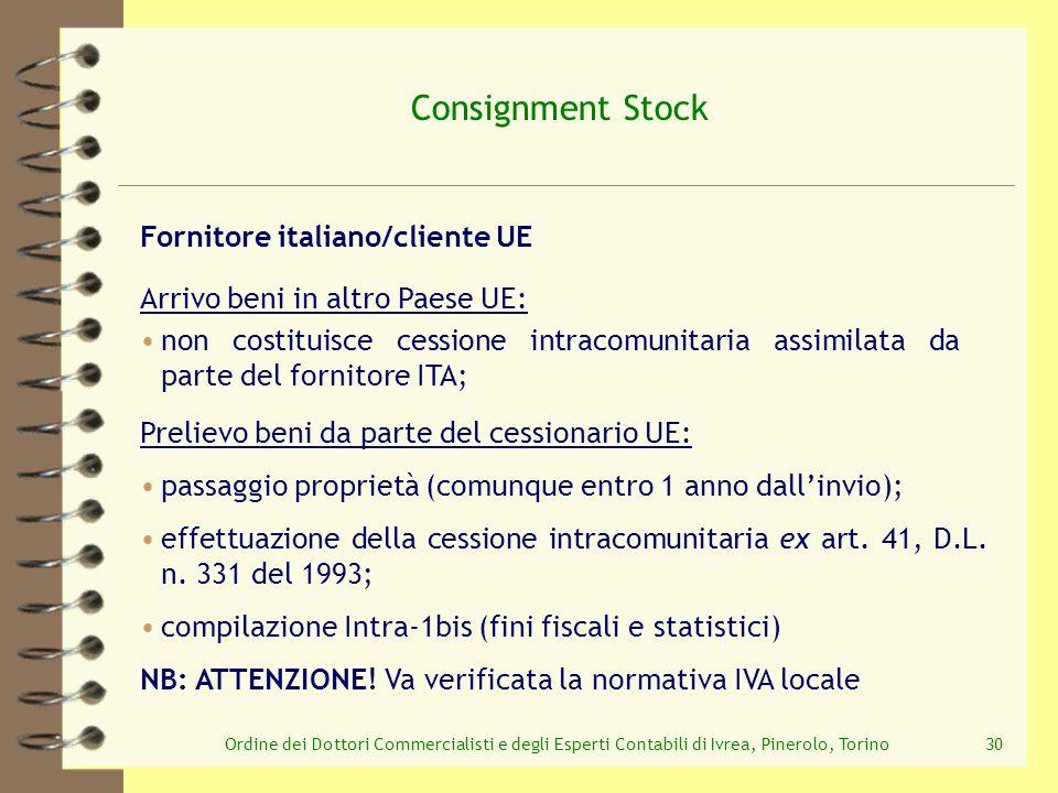 Ordine dei Dottori Commercialisti e degli Esperti Contabili di Ivrea, Pinerolo, Torino30 Consignment Stock Prelievo beni da parte del cessionario UE: