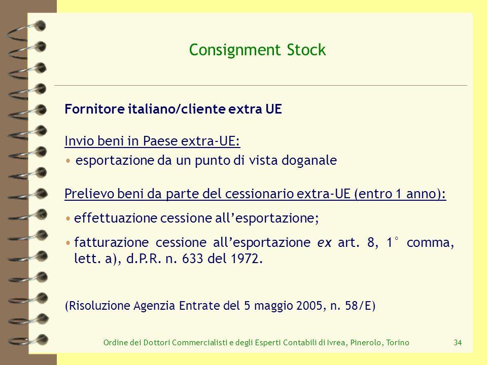 Ordine dei Dottori Commercialisti e degli Esperti Contabili di Ivrea, Pinerolo, Torino34 Consignment Stock Prelievo beni da parte del cessionario extr