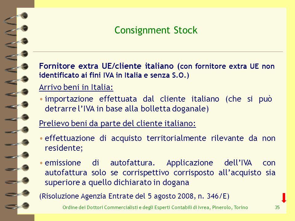 Ordine dei Dottori Commercialisti e degli Esperti Contabili di Ivrea, Pinerolo, Torino35 Consignment Stock Prelievo beni da parte del cliente italiano