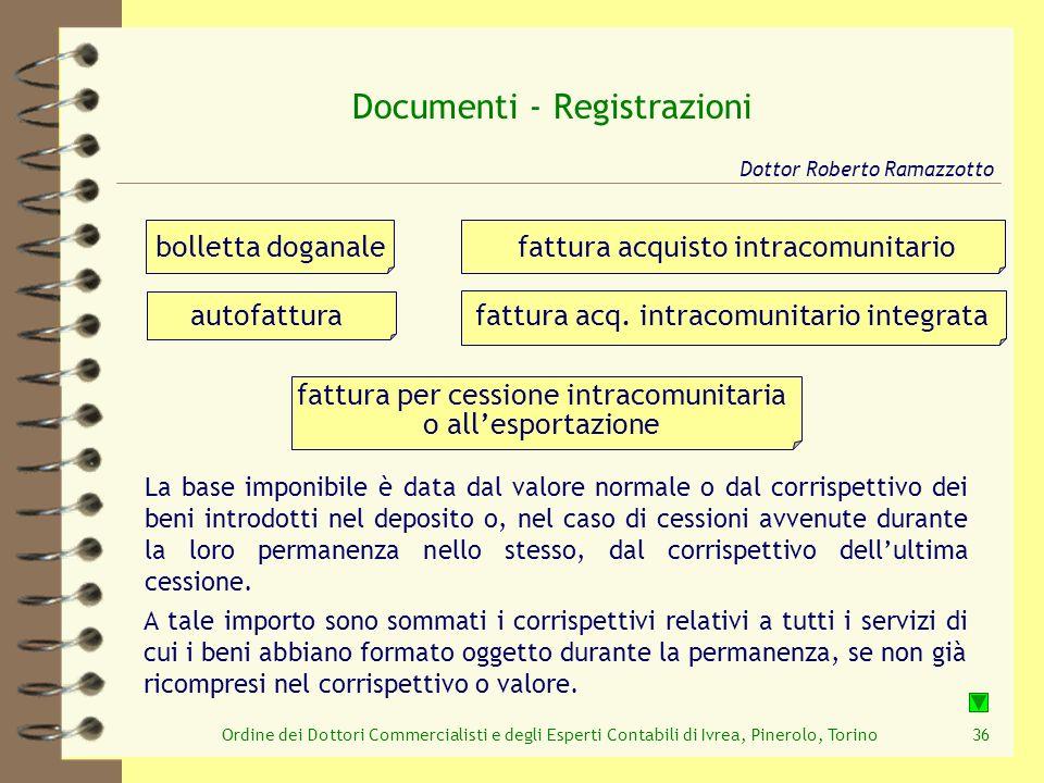 Ordine dei Dottori Commercialisti e degli Esperti Contabili di Ivrea, Pinerolo, Torino36 Documenti - Registrazioni Dottor Roberto Ramazzotto fattura a