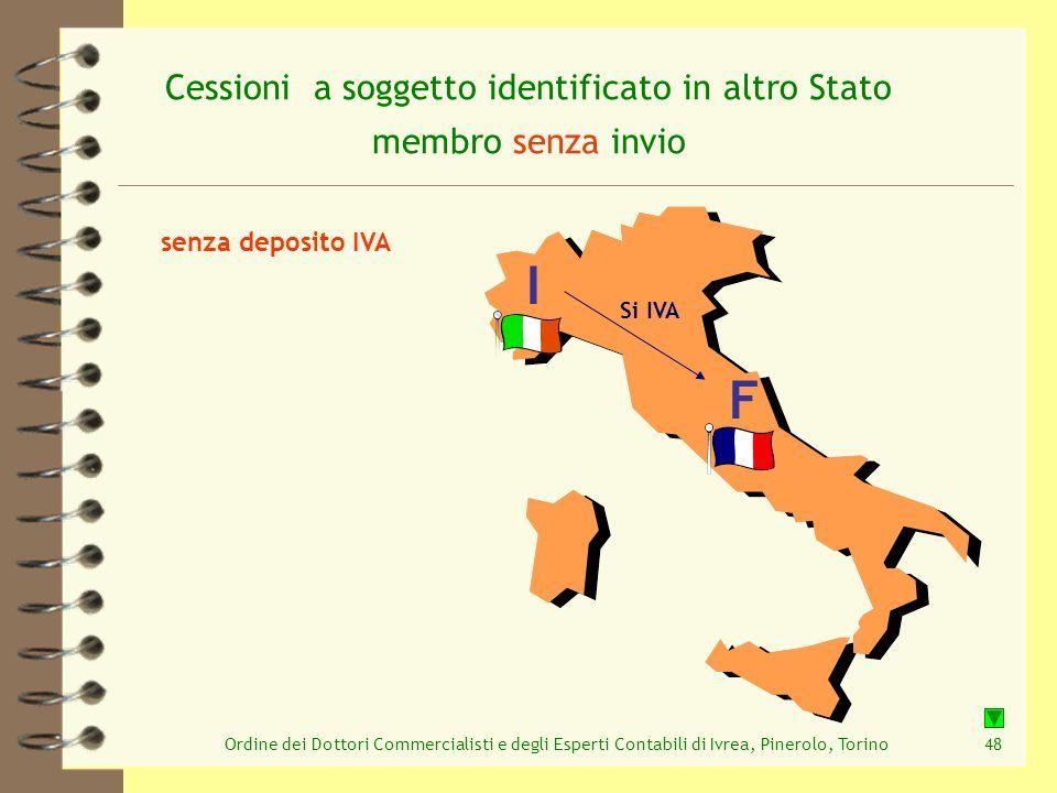 Ordine dei Dottori Commercialisti e degli Esperti Contabili di Ivrea, Pinerolo, Torino48 Cessioni a soggetto identificato in altro Stato membro senza