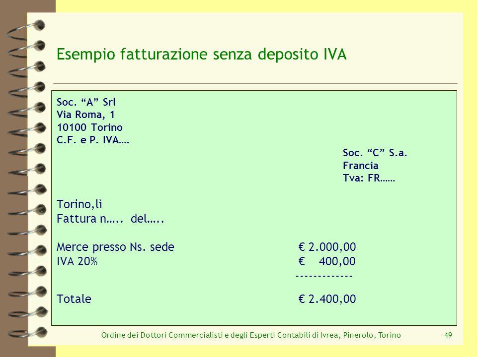 Ordine dei Dottori Commercialisti e degli Esperti Contabili di Ivrea, Pinerolo, Torino49 Esempio fatturazione senza deposito IVA Soc. A Srl Via Roma,