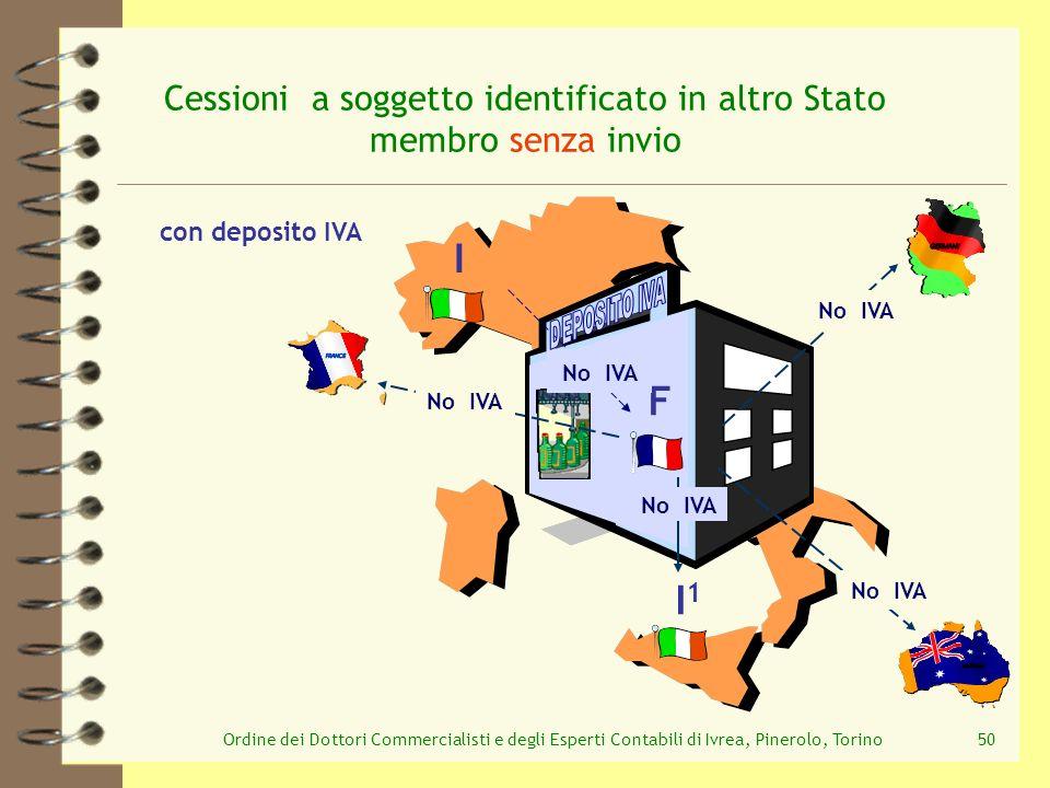 Ordine dei Dottori Commercialisti e degli Esperti Contabili di Ivrea, Pinerolo, Torino50 Cessioni a soggetto identificato in altro Stato membro senza