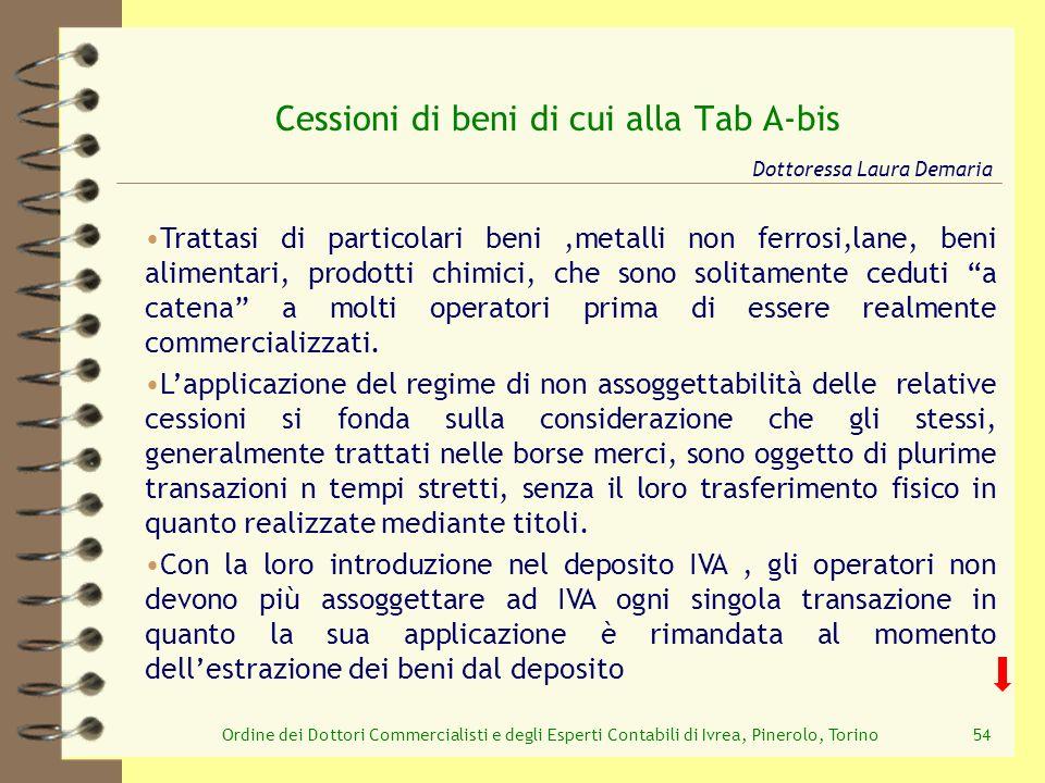 Ordine dei Dottori Commercialisti e degli Esperti Contabili di Ivrea, Pinerolo, Torino54 Cessioni di beni di cui alla Tab A-bis Trattasi di particolar