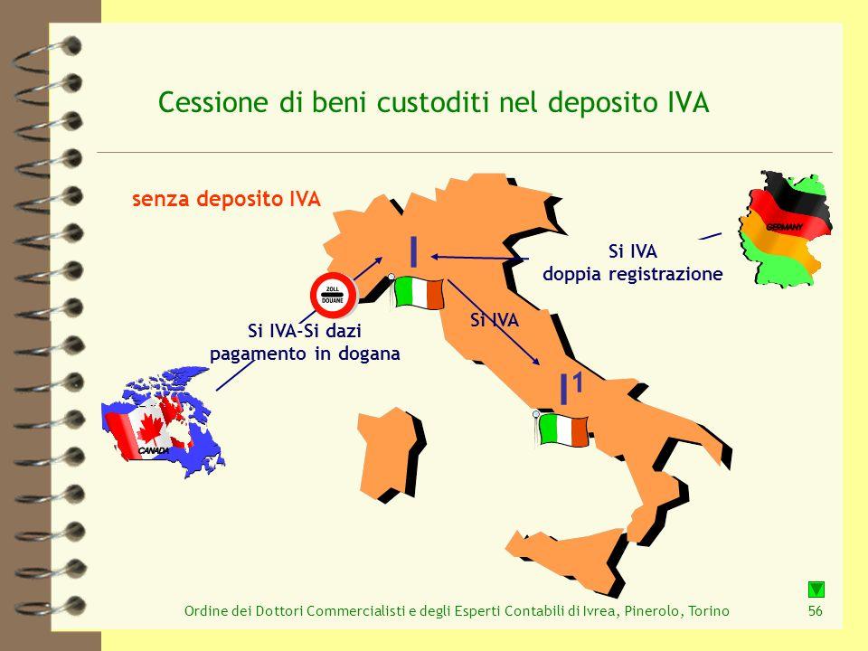 Ordine dei Dottori Commercialisti e degli Esperti Contabili di Ivrea, Pinerolo, Torino56 Cessione di beni custoditi nel deposito IVA senza deposito IV