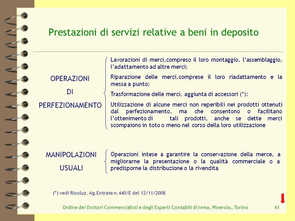 Ordine dei Dottori Commercialisti e degli Esperti Contabili di Ivrea, Pinerolo, Torino61 Prestazioni di servizi relative a beni in deposito Lavorazion