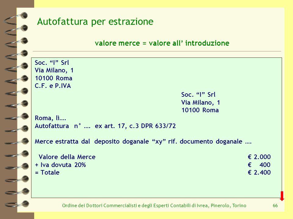 Ordine dei Dottori Commercialisti e degli Esperti Contabili di Ivrea, Pinerolo, Torino66 Soc. I Srl Via Milano, 1 10100 Roma C.F. e P.IVA Soc. I Srl V