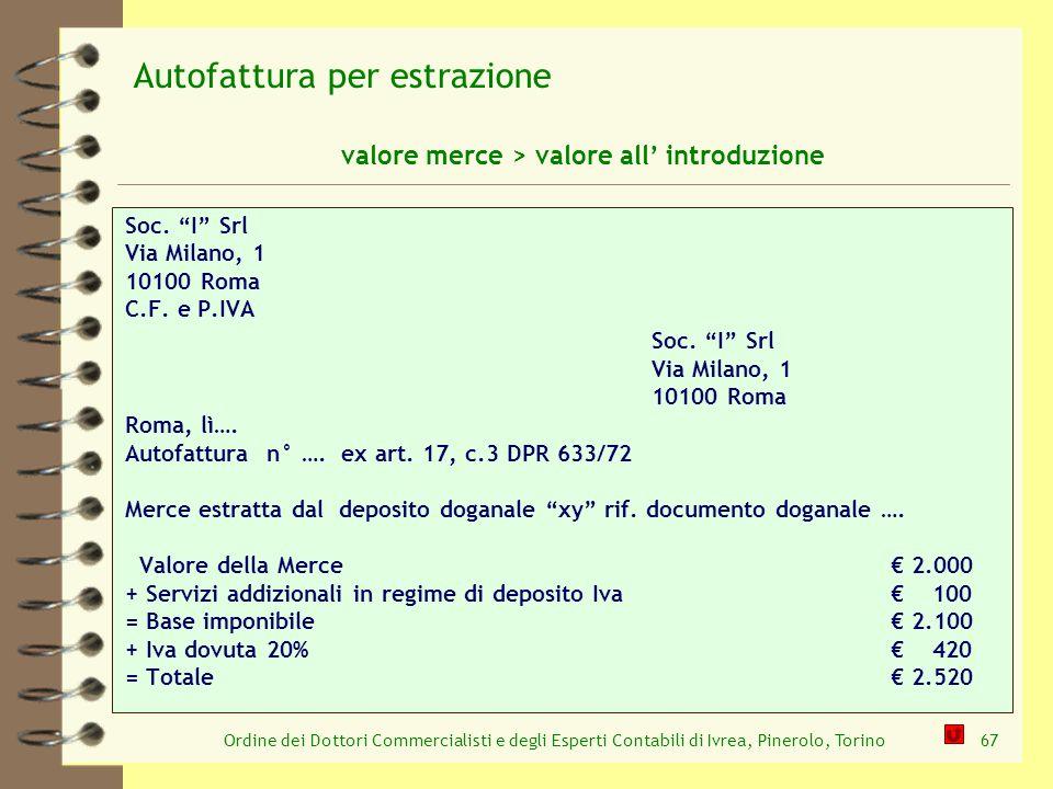 Ordine dei Dottori Commercialisti e degli Esperti Contabili di Ivrea, Pinerolo, Torino67 Soc. I Srl Via Milano, 1 10100 Roma C.F. e P.IVA Soc. I Srl V