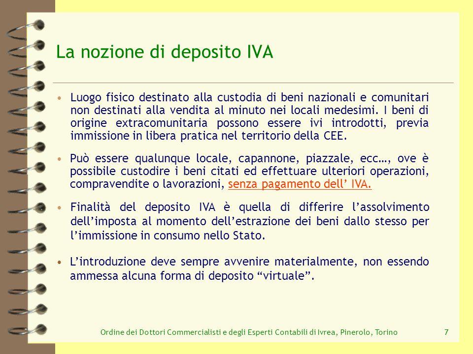 Ordine dei Dottori Commercialisti e degli Esperti Contabili di Ivrea, Pinerolo, Torino18 lintroduzione il trasferimento tra depositi Operazioni non soggette al pagamento dell I.V.A.