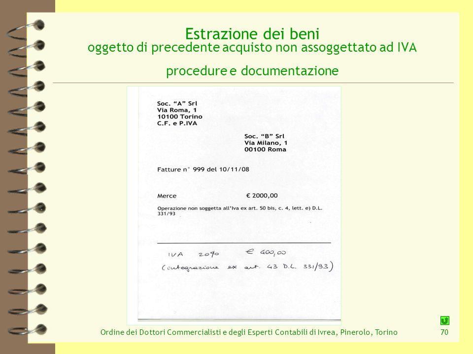 Ordine dei Dottori Commercialisti e degli Esperti Contabili di Ivrea, Pinerolo, Torino70 Estrazione dei beni oggetto di precedente acquisto non assogg