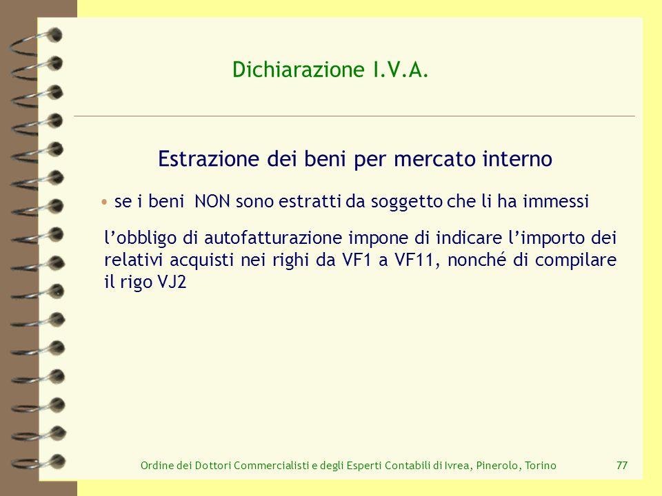 Ordine dei Dottori Commercialisti e degli Esperti Contabili di Ivrea, Pinerolo, Torino77 Dichiarazione I.V.A. Estrazione dei beni per mercato interno