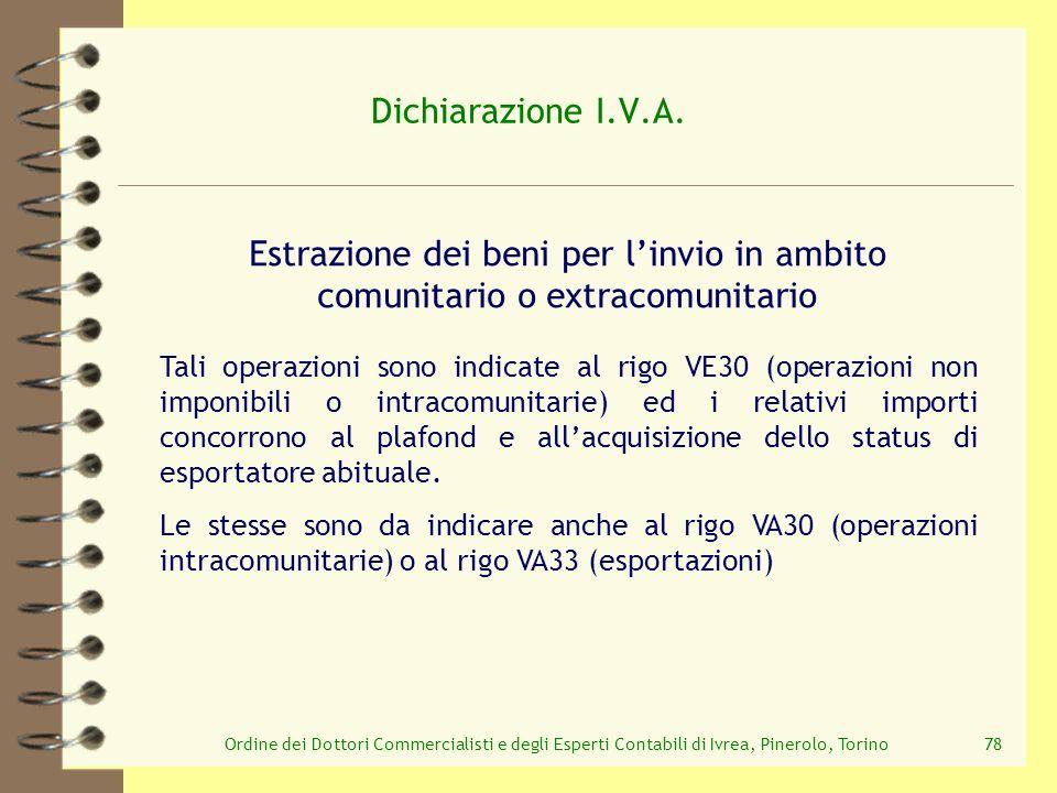 Ordine dei Dottori Commercialisti e degli Esperti Contabili di Ivrea, Pinerolo, Torino78 Dichiarazione I.V.A. Estrazione dei beni per linvio in ambito