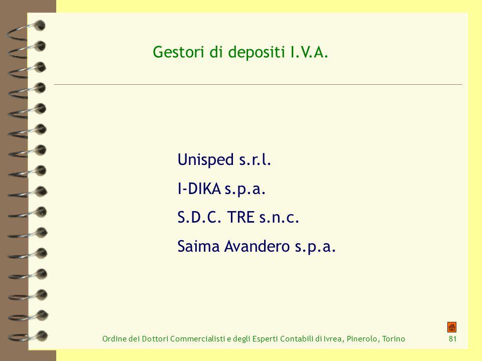 Ordine dei Dottori Commercialisti e degli Esperti Contabili di Ivrea, Pinerolo, Torino81 Gestori di depositi I.V.A. Unisped s.r.l. I-DIKA s.p.a. S.D.C