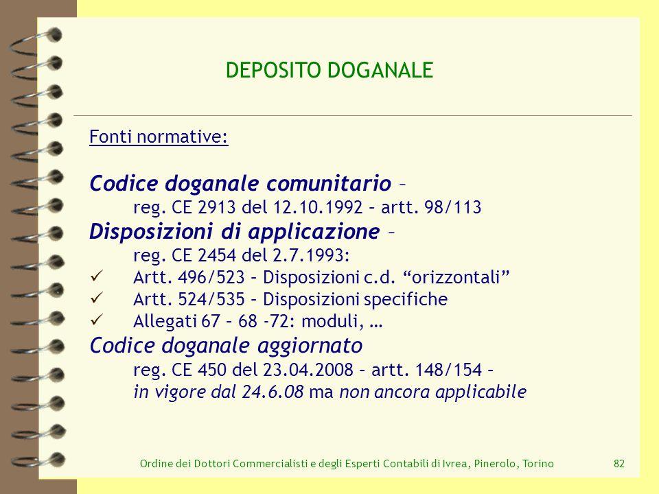 Ordine dei Dottori Commercialisti e degli Esperti Contabili di Ivrea, Pinerolo, Torino82 DEPOSITO DOGANALE Fonti normative: Codice doganale comunitari