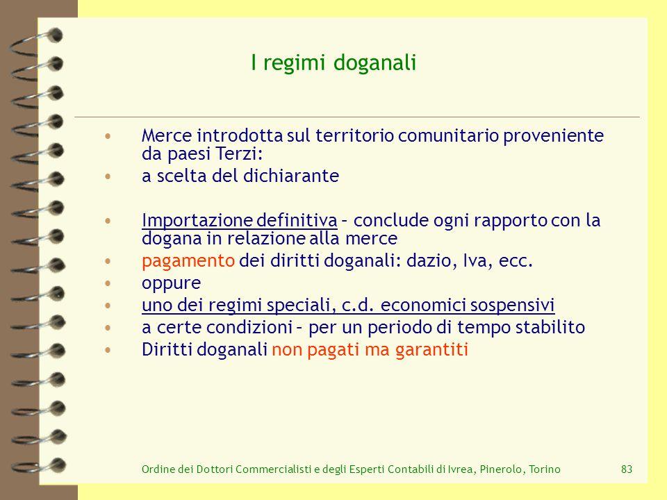 Ordine dei Dottori Commercialisti e degli Esperti Contabili di Ivrea, Pinerolo, Torino83 I regimi doganali Merce introdotta sul territorio comunitario