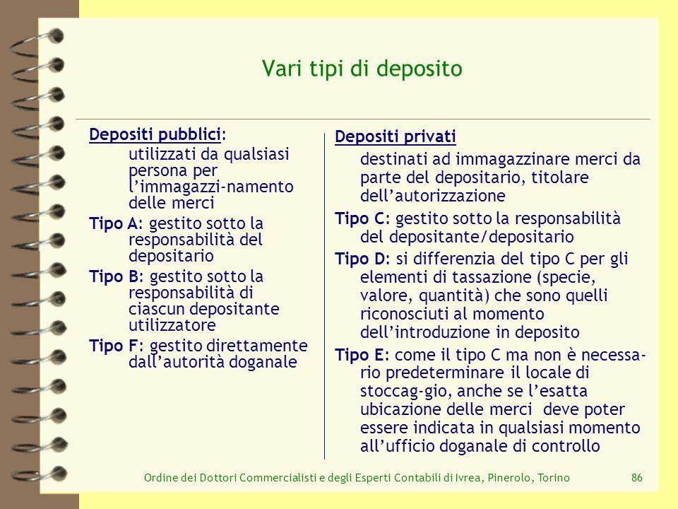 Ordine dei Dottori Commercialisti e degli Esperti Contabili di Ivrea, Pinerolo, Torino86 Vari tipi di deposito Depositi privati destinati ad immagazzi