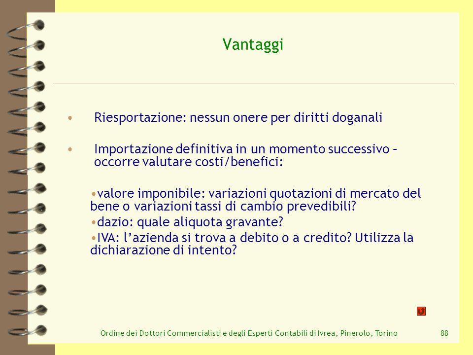 Ordine dei Dottori Commercialisti e degli Esperti Contabili di Ivrea, Pinerolo, Torino88 Vantaggi Riesportazione: nessun onere per diritti doganali Im