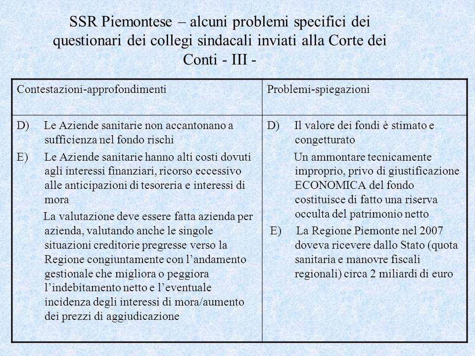 SSR Piemontese – alcuni problemi specifici dei questionari dei collegi sindacali inviati alla Corte dei Conti - III - Contestazioni-approfondimentiPro
