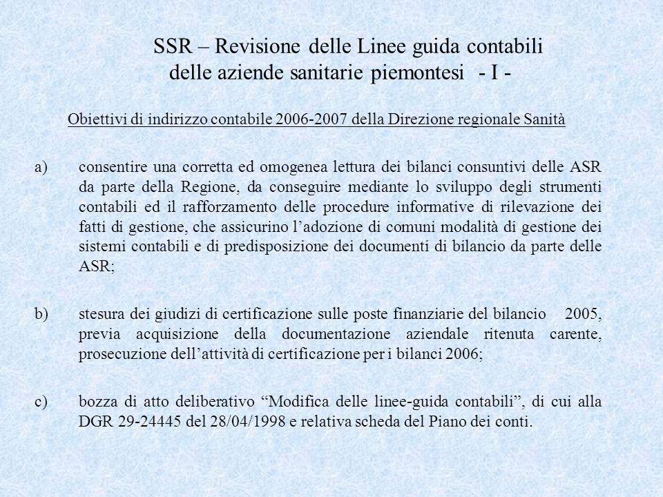 SSR – Revisione delle Linee guida contabili delle aziende sanitarie piemontesi - I - Obiettivi di indirizzo contabile 2006-2007 della Direzione region