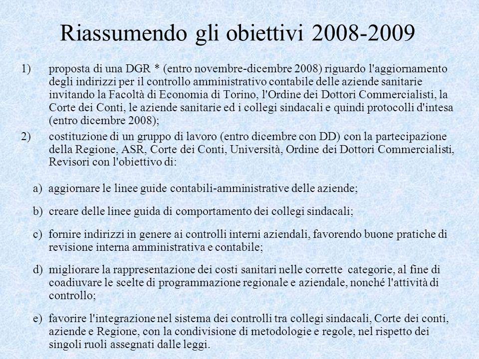 Riassumendo gli obiettivi 2008-2009 1)proposta di una DGR * (entro novembre-dicembre 2008) riguardo l aggiornamento degli indirizzi per il controllo amministrativo contabile delle aziende sanitarie invitando la Facoltà di Economia di Torino, l Ordine dei Dottori Commercialisti, la Corte dei Conti, le aziende sanitarie ed i collegi sindacali e quindi protocolli d intesa (entro dicembre 2008); 2)costituzione di un gruppo di lavoro (entro dicembre con DD) con la partecipazione della Regione, ASR, Corte dei Conti, Università, Ordine dei Dottori Commercialisti, Revisori con l obiettivo di: a) aggiornare le linee guide contabili-amministrative delle aziende; b) creare delle linee guida di comportamento dei collegi sindacali; c) fornire indirizzi in genere ai controlli interni aziendali, favorendo buone pratiche di revisione interna amministrativa e contabile; d) migliorare la rappresentazione dei costi sanitari nelle corrette categorie, al fine di coadiuvare le scelte di programmazione regionale e aziendale, nonché l attività di controllo; e) favorire l integrazione nel sistema dei controlli tra collegi sindacali, Corte dei conti, aziende e Regione, con la condivisione di metodologie e regole, nel rispetto dei singoli ruoli assegnati dalle leggi.