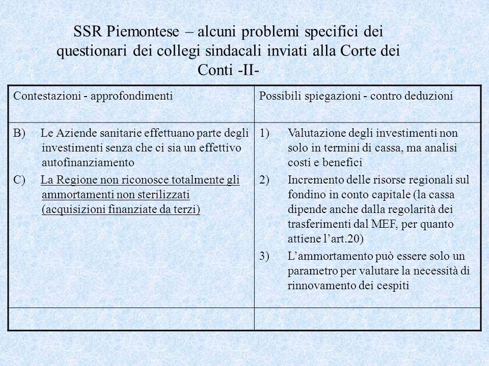 SSR Piemontese – alcuni problemi specifici dei questionari dei collegi sindacali inviati alla Corte dei Conti -II- Contestazioni - approfondimentiPoss
