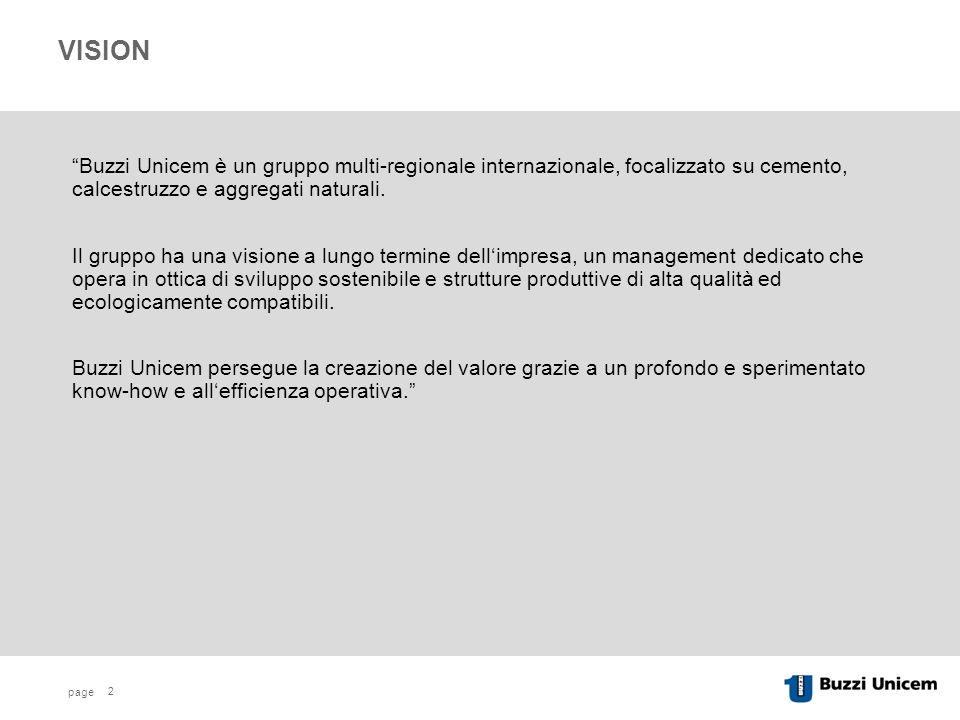 page 2 VISION Buzzi Unicem è un gruppo multi-regionale internazionale, focalizzato su cemento, calcestruzzo e aggregati naturali.
