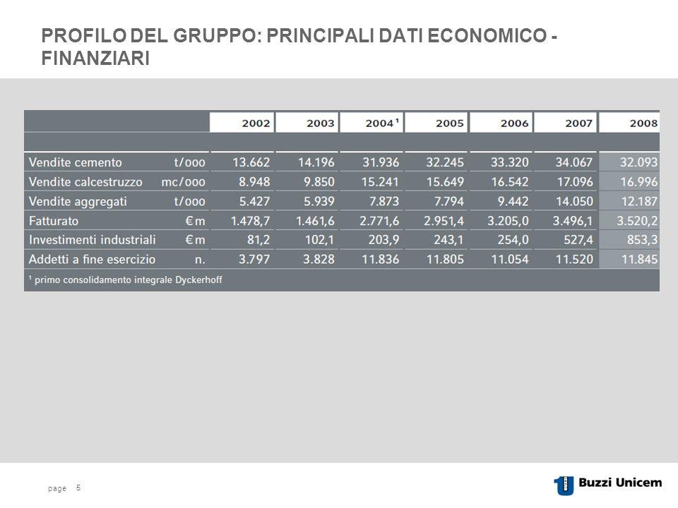 page 5 PROFILO DEL GRUPPO: PRINCIPALI DATI ECONOMICO - FINANZIARI