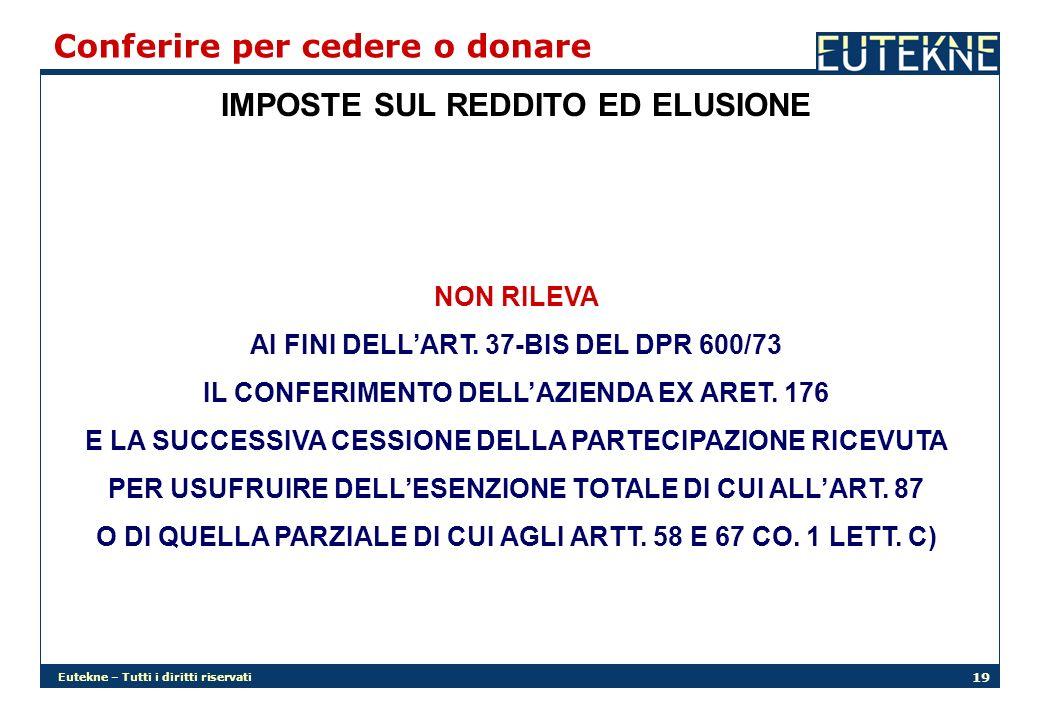 Eutekne – Tutti i diritti riservati 19 IMPOSTE SUL REDDITO ED ELUSIONE Conferire per cedere o donare NON RILEVA AI FINI DELLART. 37-BIS DEL DPR 600/73
