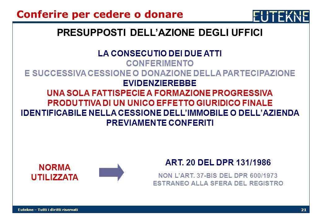Eutekne – Tutti i diritti riservati 21 PRESUPPOSTI DELLAZIONE DEGLI UFFICI Conferire per cedere o donare LA CONSECUTIO DEI DUE ATTI CONFERIMENTO E SUC