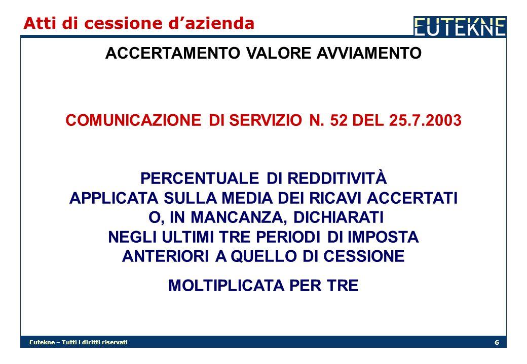 Eutekne – Tutti i diritti riservati 6 Atti di cessione dazienda ACCERTAMENTO VALORE AVVIAMENTO COMUNICAZIONE DI SERVIZIO N. 52 DEL 25.7.2003 PERCENTUA