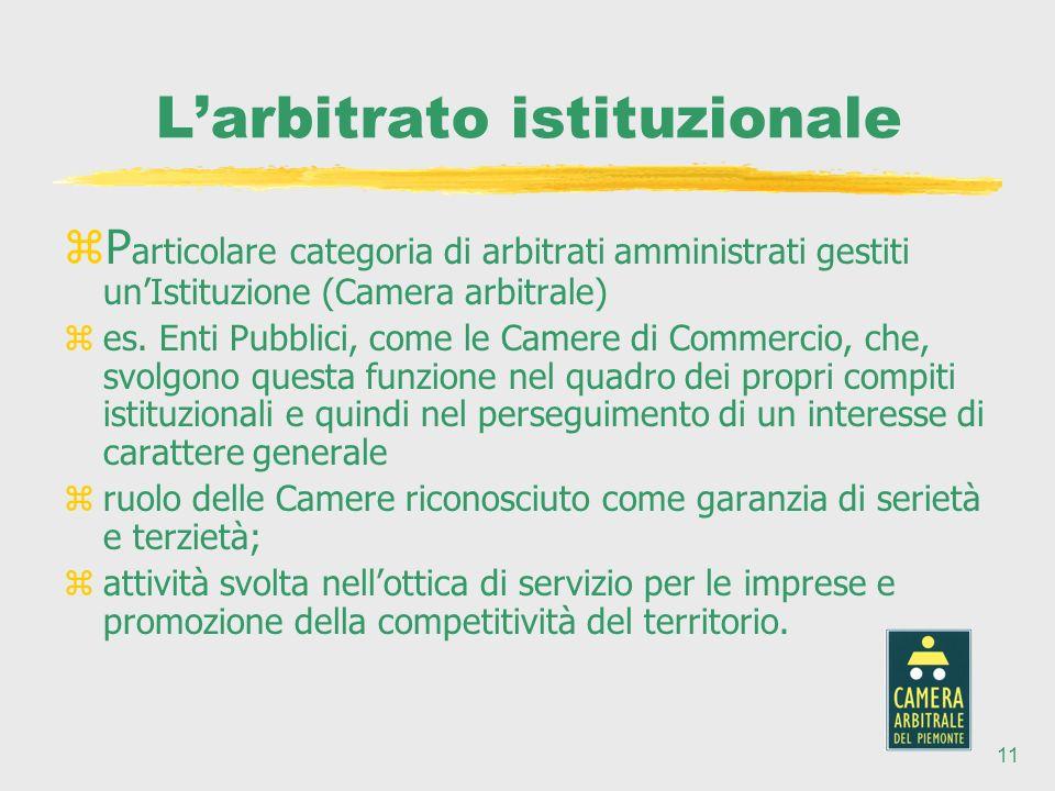 11 Larbitrato istituzionale zP articolare categoria di arbitrati amministrati gestiti unIstituzione (Camera arbitrale) zes.