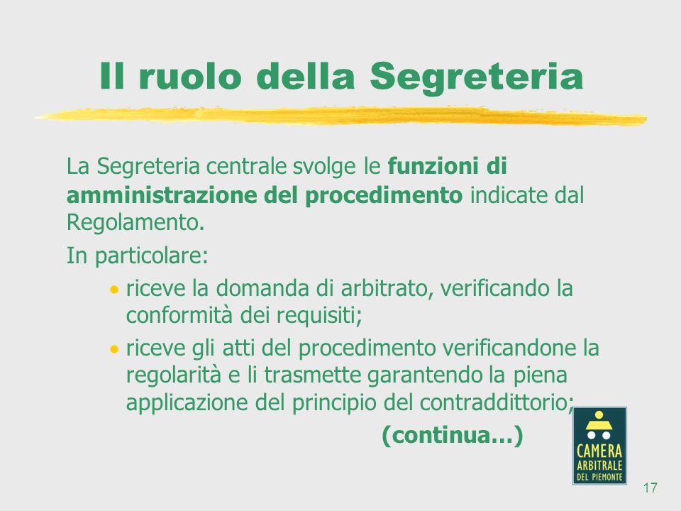 17 Il ruolo della Segreteria La Segreteria centrale svolge le funzioni di amministrazione del procedimento indicate dal Regolamento.