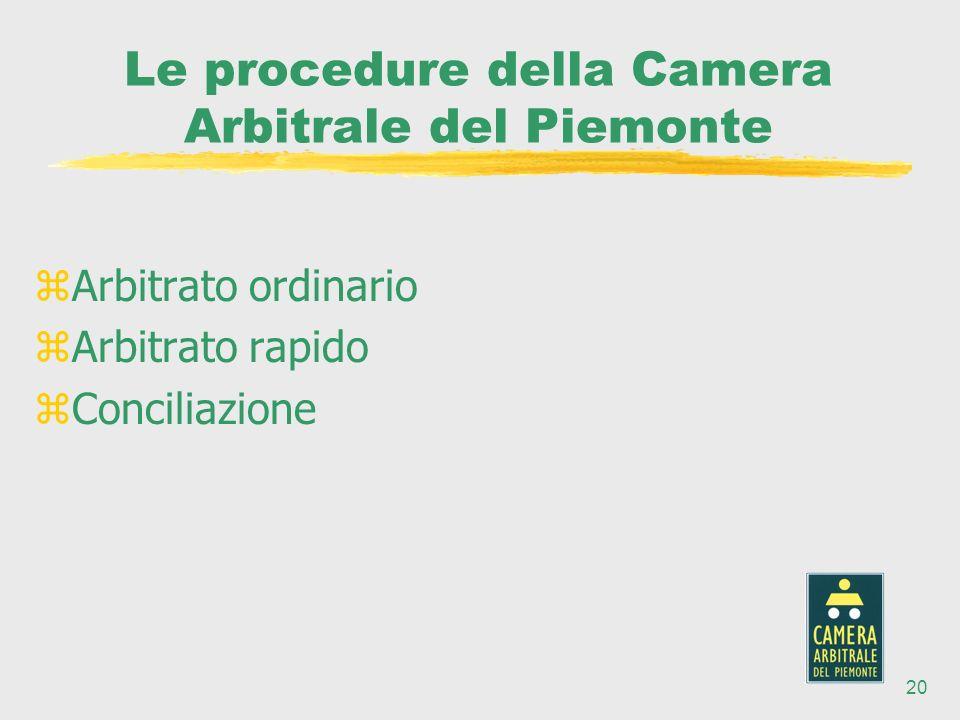 20 Le procedure della Camera Arbitrale del Piemonte zArbitrato ordinario zArbitrato rapido zConciliazione
