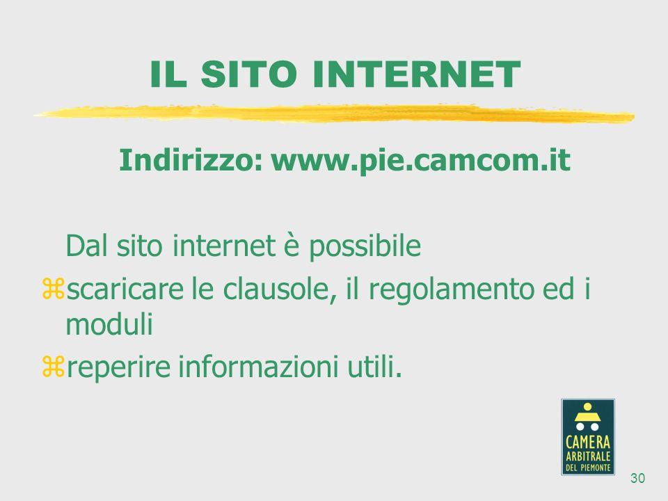 30 Indirizzo: www.pie.camcom.it Dal sito internet è possibile zscaricare le clausole, il regolamento ed i moduli zreperire informazioni utili.
