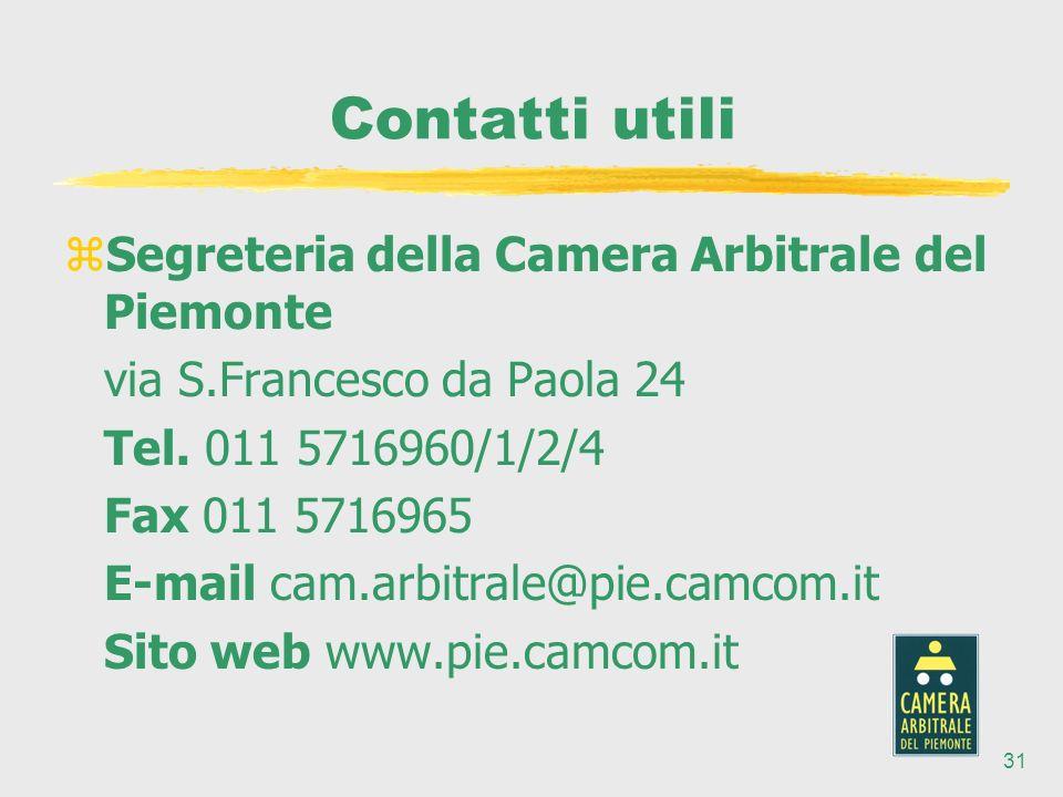 31 Contatti utili zSegreteria della Camera Arbitrale del Piemonte via S.Francesco da Paola 24 Tel.