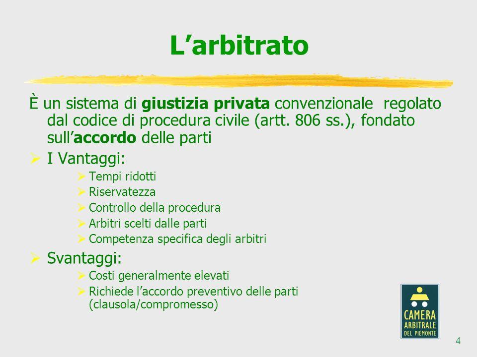 4 Larbitrato È un sistema di giustizia privata convenzionale regolato dal codice di procedura civile (artt.