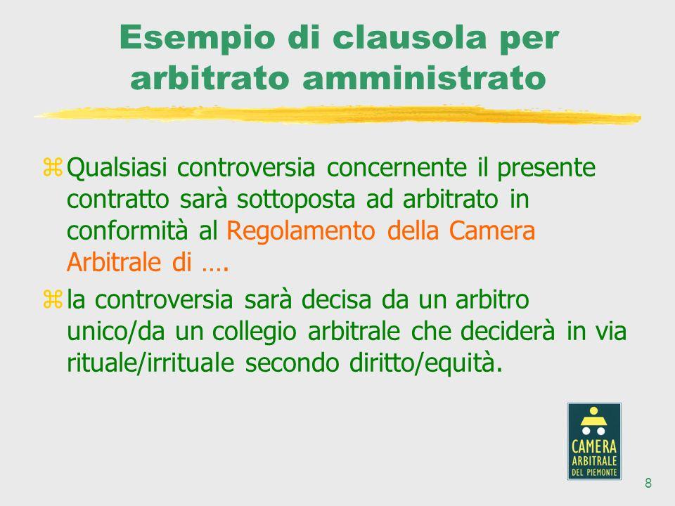 8 Esempio di clausola per arbitrato amministrato zQualsiasi controversia concernente il presente contratto sarà sottoposta ad arbitrato in conformità al Regolamento della Camera Arbitrale di ….