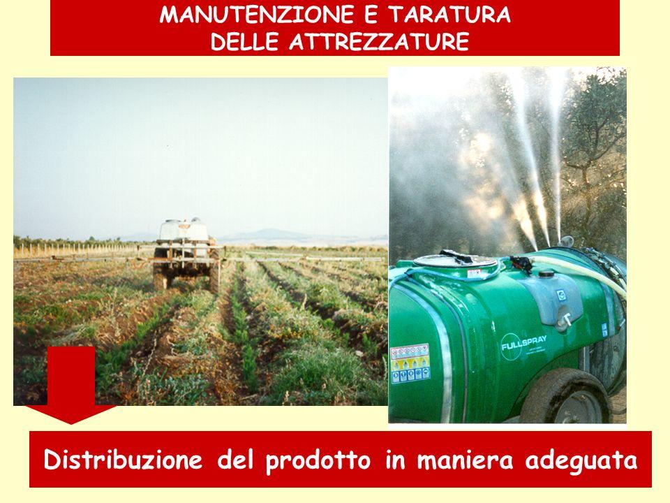 MANUTENZIONE E TARATURA DELLE ATTREZZATURE Distribuzione del prodotto in maniera adeguata