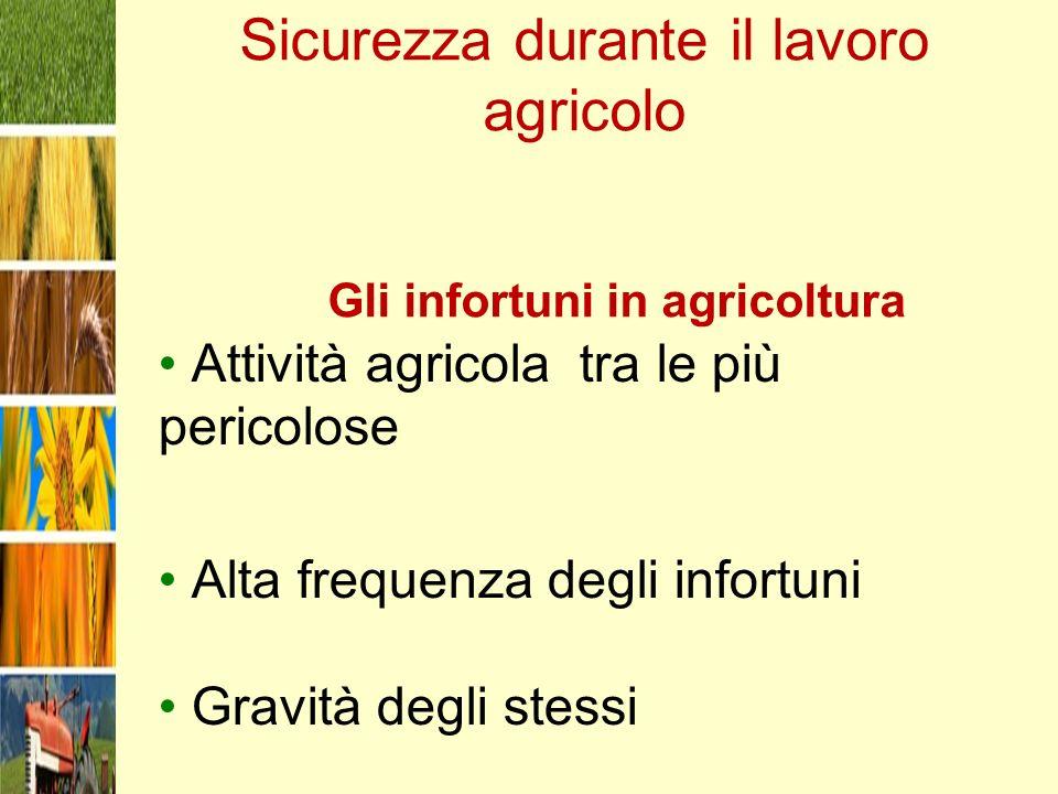 Sicurezza durante il lavoro agricolo Gli infortuni in agricoltura Attività agricola tra le più pericolose Alta frequenza degli infortuni Gravità degli