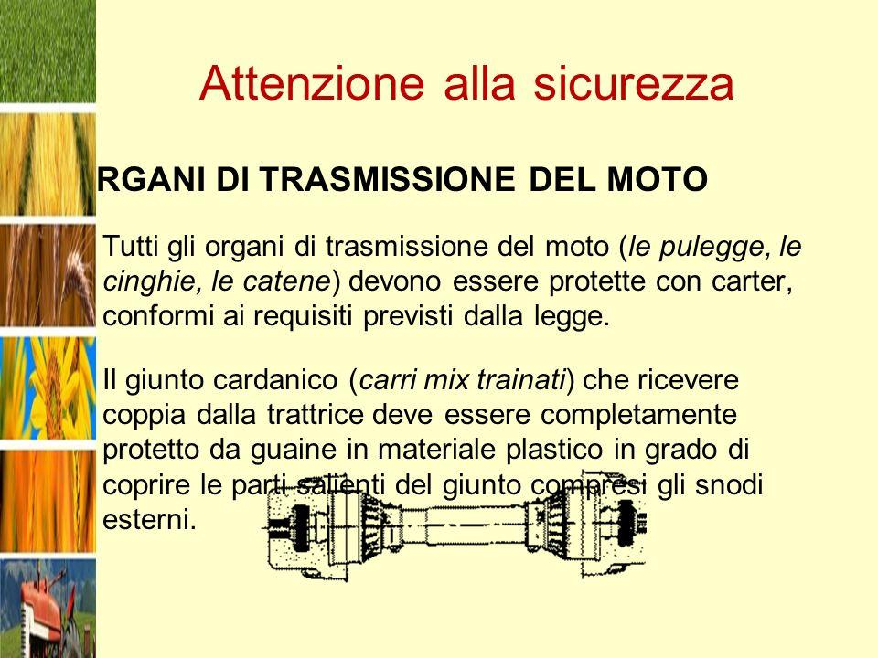Attenzione alla sicurezza ORGANI DI TRASMISSIONE DEL MOTO Tutti gli organi di trasmissione del moto (le pulegge, le cinghie, le catene) devono essere