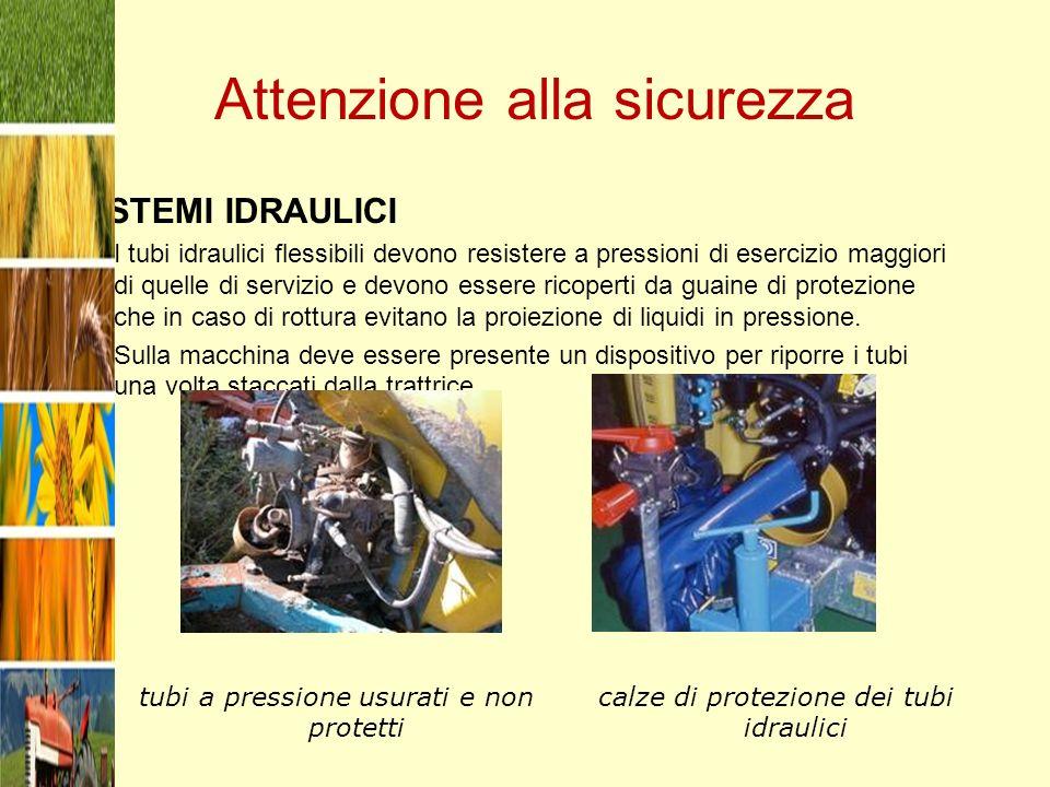 Attenzione alla sicurezza SISTEMI IDRAULICI I tubi idraulici flessibili devono resistere a pressioni di esercizio maggiori di quelle di servizio e dev